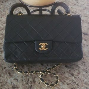 Chanel 10'' Black Lambskin Handbag Shoulder Flap